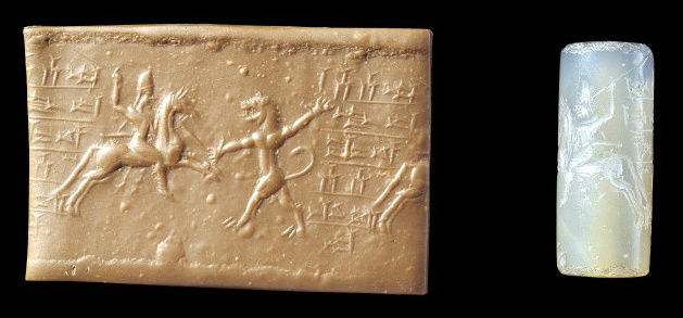 Cylinder seal depicting hunting,cr. 8th-7th century BC, Neo-Elamite II