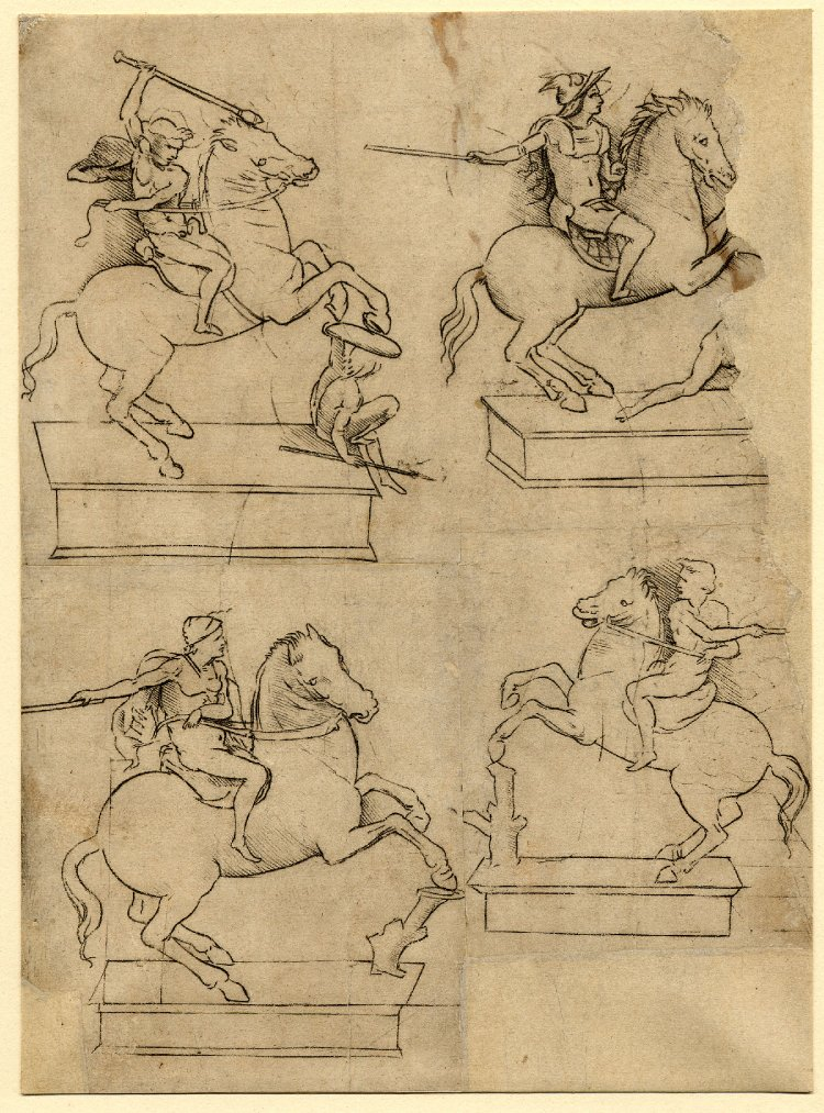 COMPARANDUM: Four studies for the uncompleted equestrian statue of Francesco Sforza,1490-1510, after Leonardo da Vinci