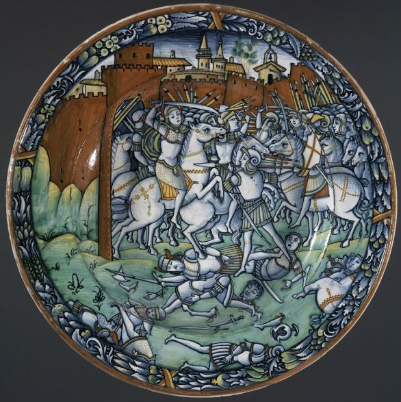Dish depicting a battle, cr. 1500-10, possibly Mancini workshop, Deruta