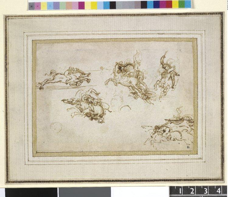 Studies of horsemen for the Battle of Anghiari, cr. 1503, Leonardo da Vinci, Florence