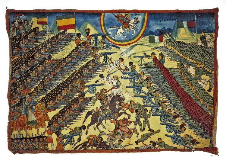 Battle of Adwa, with Emperor Menelik II and Saint George on rearing horses, 1940-1949, Ethiopia