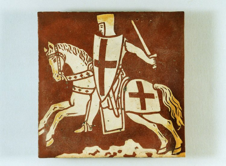 Lead-glazed inlaid floor tile showing a knight on horseback, 1845-1860, Chertsey, England