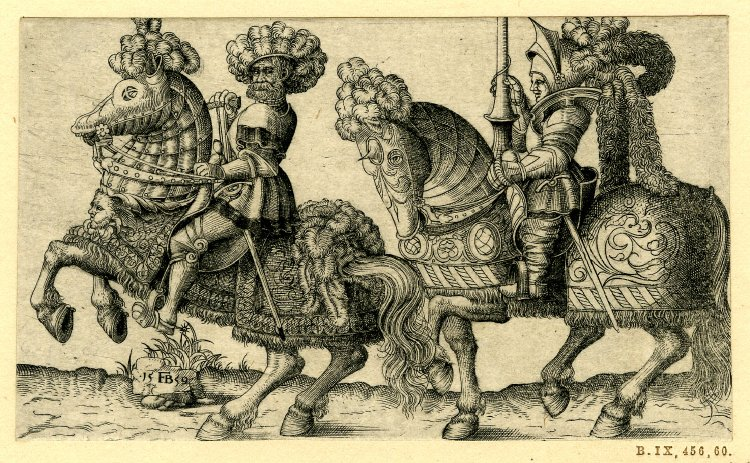 A knight and a soldier on horseback, 1559, Franz Isaac Brun, Germany