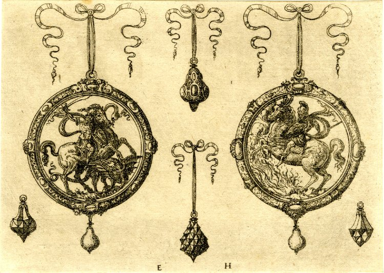 Two large and four small pendants; St George on the large pendant on l, Marcus Curtius on r, 1562, Erasmus Hornick, Nuremberg, Germany