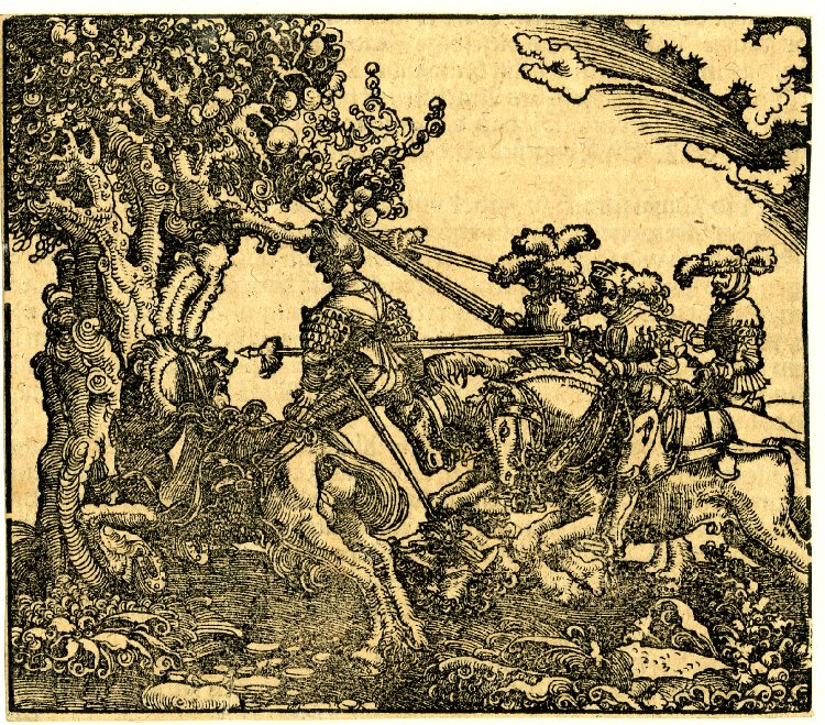Death of Absalom, 1532-40, printed in 1550, Georg Lemberger and Hans Lufft, Wittenberg, Germany