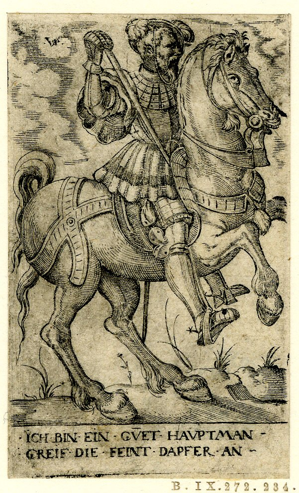 A captain on horseback, 1530-1562, Virgil Solis, Nuremberg, Germany