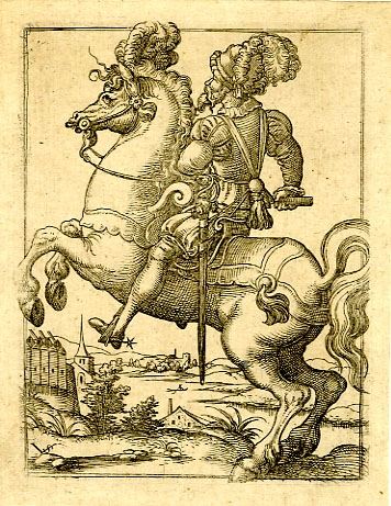 A mounted officer, 1530-1555, Virgil Solis, Nuremberg, Germany