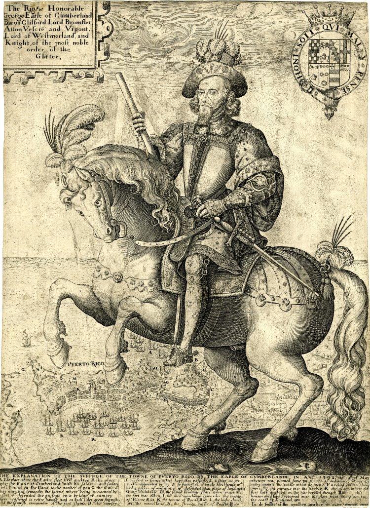 George Clifford, 3rd Earl of Cumberland, mounted on a prancing horse, with a view of Puerto Rico in the background, cr.1599, Thomas Cockson