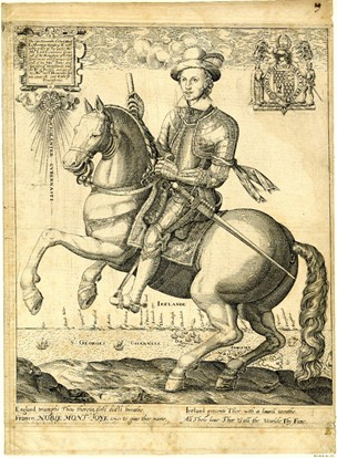 Charles Blount, Duke of Devonshire, mounted on a prancing horse, with a view of St George's Channel and Ireland in the background,cr.1603-6, Thomas Cockson