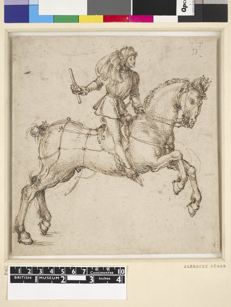 COMPARANDUM: Man on horseback holding a scroll or stick in his right hand, 1490-4, Albrecht Dürer, Germany