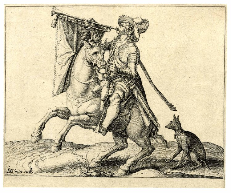 A mounted trumpeter sounding his trumpet accompanied by a dog, after 1599, Jacques de Gheyn II, Netherlands
