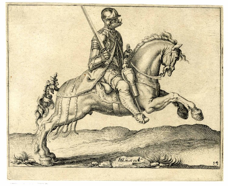 A cavalryman raising his sword and charging to right, after 1599, Jacques de Gheyn II, Netherlands