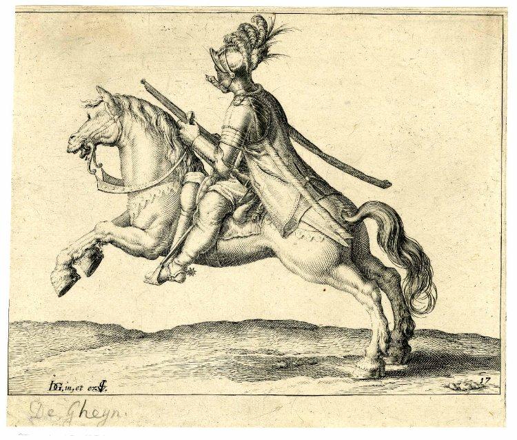 A cavalryman holding a gun charging to left, after 1599, Jacques de Gheyn II, Netherlands