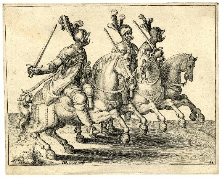 Three cavalrymen in full armour with drawn swords, riding to the right, after 1599, Jacques de Gheyn II, Netherlands