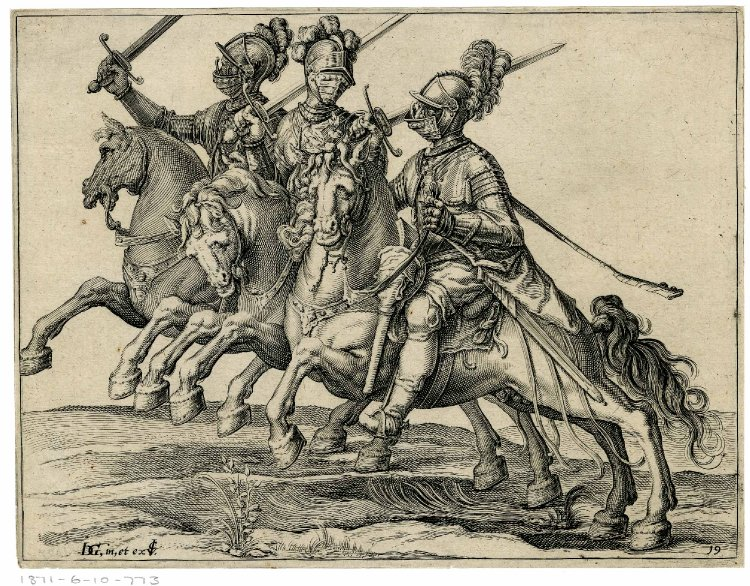 Three cavalrymen in full armour with drawn swords, riding to the left, after 1599, Jacques de Gheyn II, Netherlands