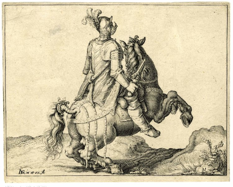 A cavalryman holding a pistol, on a rearing horse, to right, after 1599, Jacques de Gheyn II, Netherlands