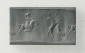 Cylinder seal depicting hunting, cr. 10th-5th century BC, Neo-Elamite II (?)