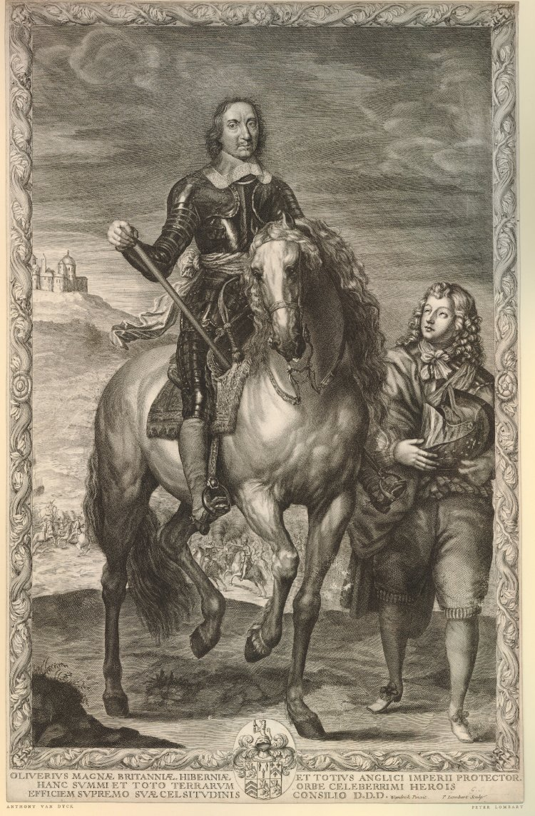 Equestrian portrait of Oliver Cromwell, 1655-1700, Pierre Lombart