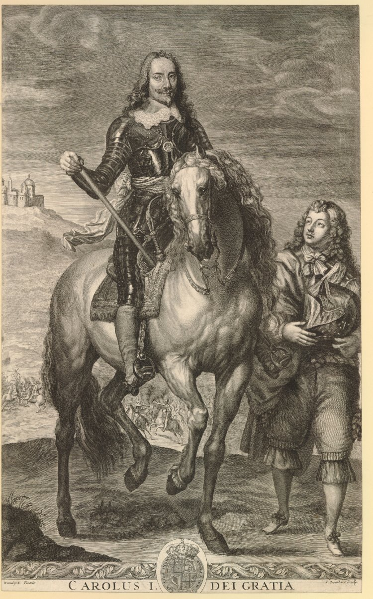 Equestrian portrait of Charles I, 1655-1700, Pierre Lombart