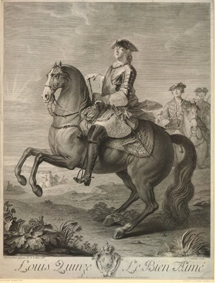Equestrian portrait of Louis XV,1765, altered version of an engraving made in 1732, print made by Louis Jacques Cathelin after Noël Le Mire (Louis XV's face) and Charles Parrocel