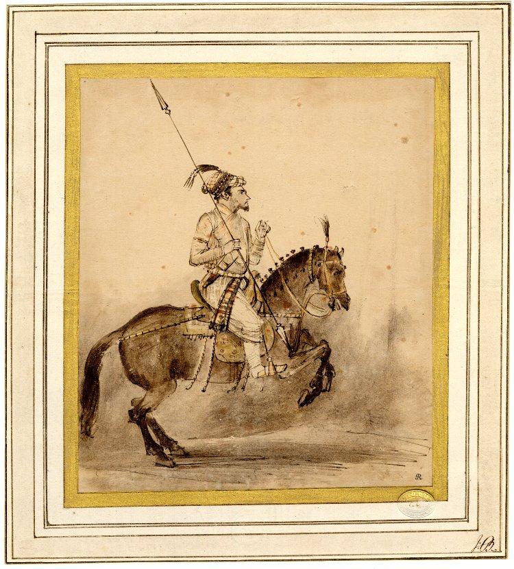 A Mughal nobleman on horseback, cr. 1656-61, Rembrandt, Netherlands
