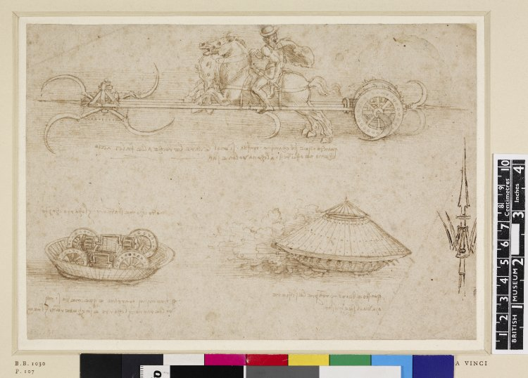 Studies of military tank-like machines including one led by a horseman on a rearing horse pulling a contraption with revolving scythes, cr. 1485, Leonardo da Vinci, Florence