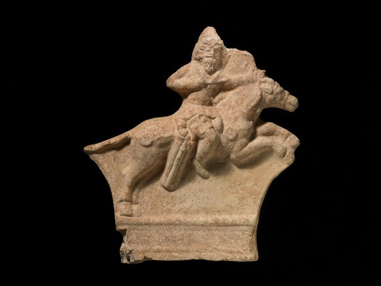 Ceramic relief plaque of a mounted Parthian archer, 1st century - 3rd century
