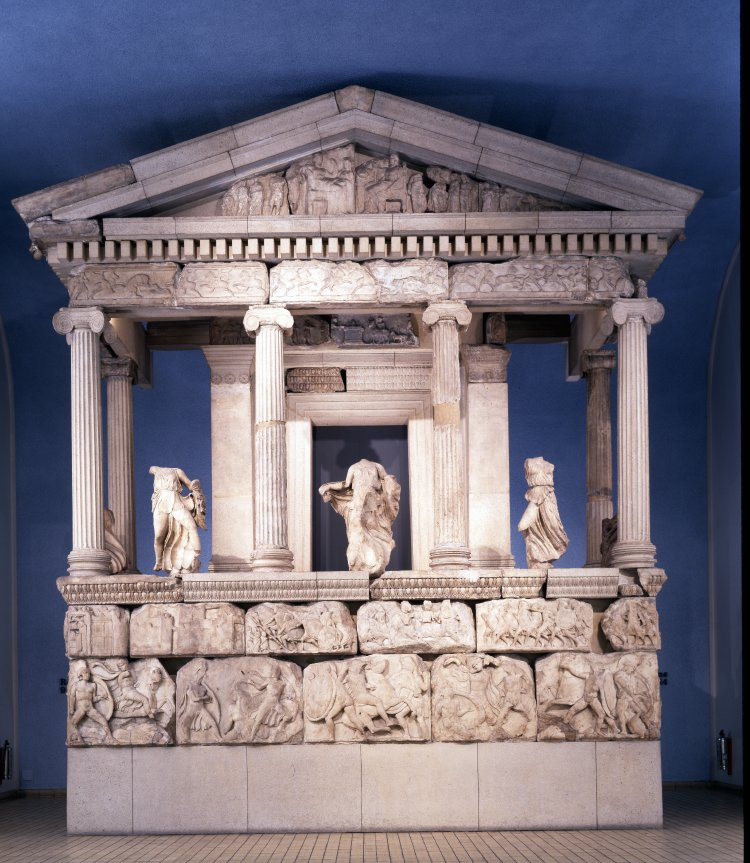 The reconstructed façade of the Nereid Monument, cr. 390-380 BC, classical Greek, Xanthos in Lycia, close to present-day Fethiye in Mugla Province, Turkey