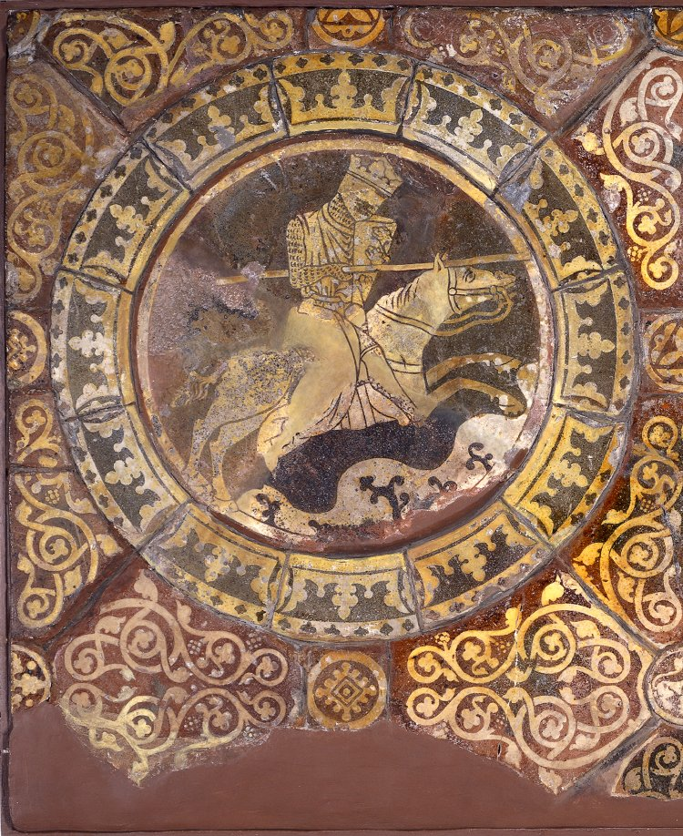 Inlaid floor tile showing Richard I (Coeur de Lion) in combat with his adversary Saladin, 1250s, Chertsey Abbey, Chertsey, England