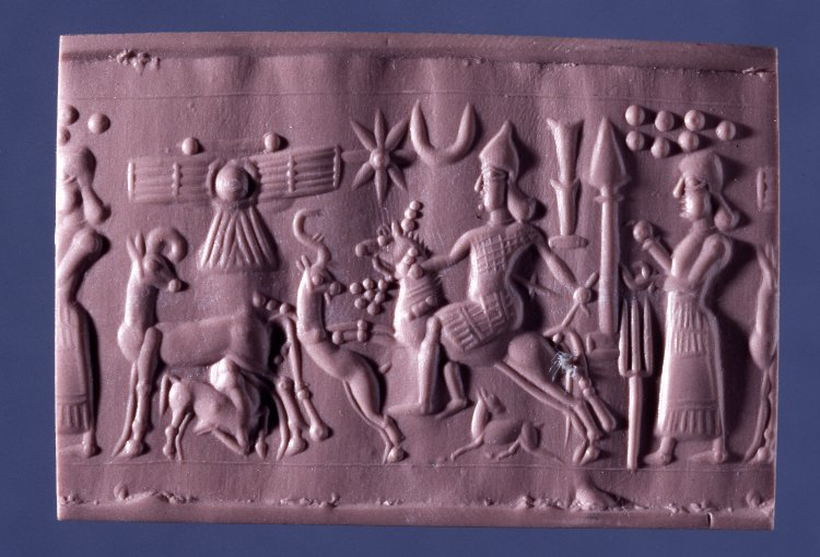 Cylinder seal depicting a stag hunting, 800 BC-750 BC, Neo-Assyrian (Iraq)