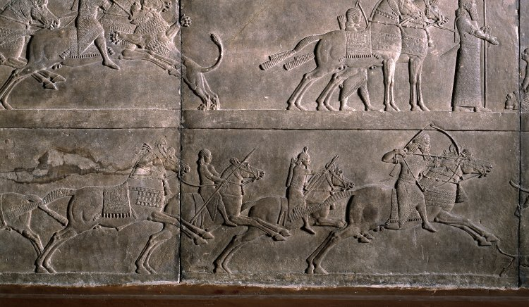 King Ashurbanipal aiming an arrow, 645-35 BC, Neo-Assyrian (Iraq)