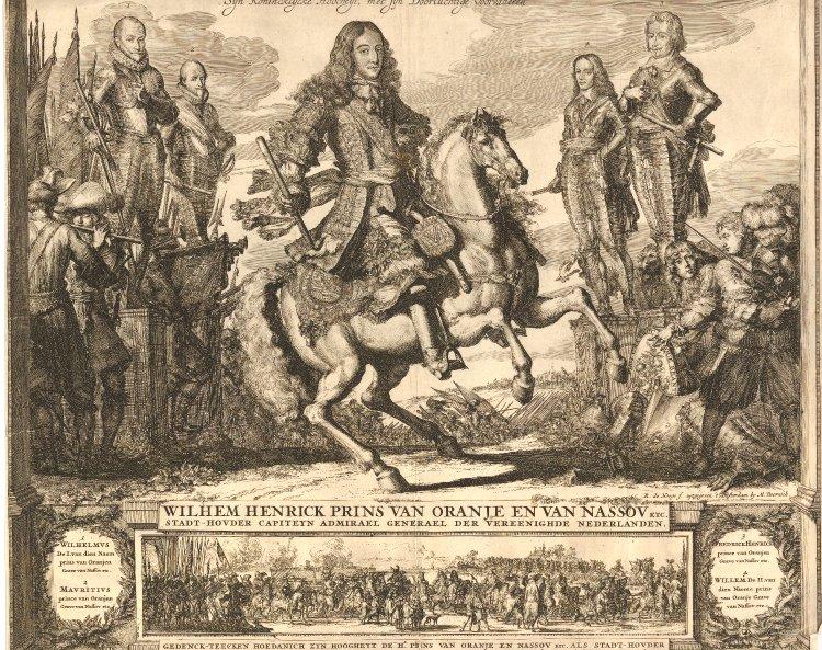 Equestrian portrait of William III of Orange Nassau, 1672, Romeyn de Hooghe, Netherlands