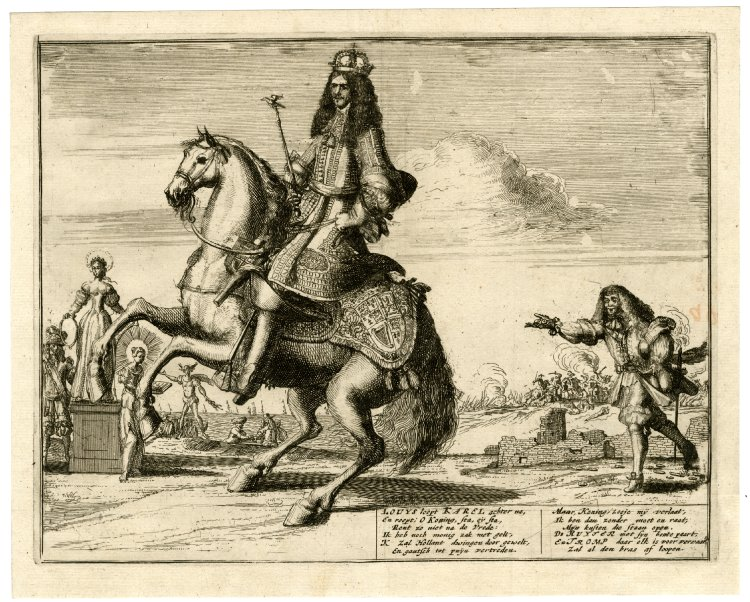 COMPARANDUM: Satire: Louis XIV, holding out coins, runs after Charles II who holds the sceptre of peace and rides a prancing horse, 1670-80, Romeyn de Hooghe, Netherlands