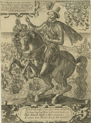 The Right Honorable Charles Howarde Earle of Notingham, mounted on a prancing horse, with a view of the Spanish Armada and the 1596 Battle of Cadiz in the background,1596-1603, probably 1599, Thomas Cockson