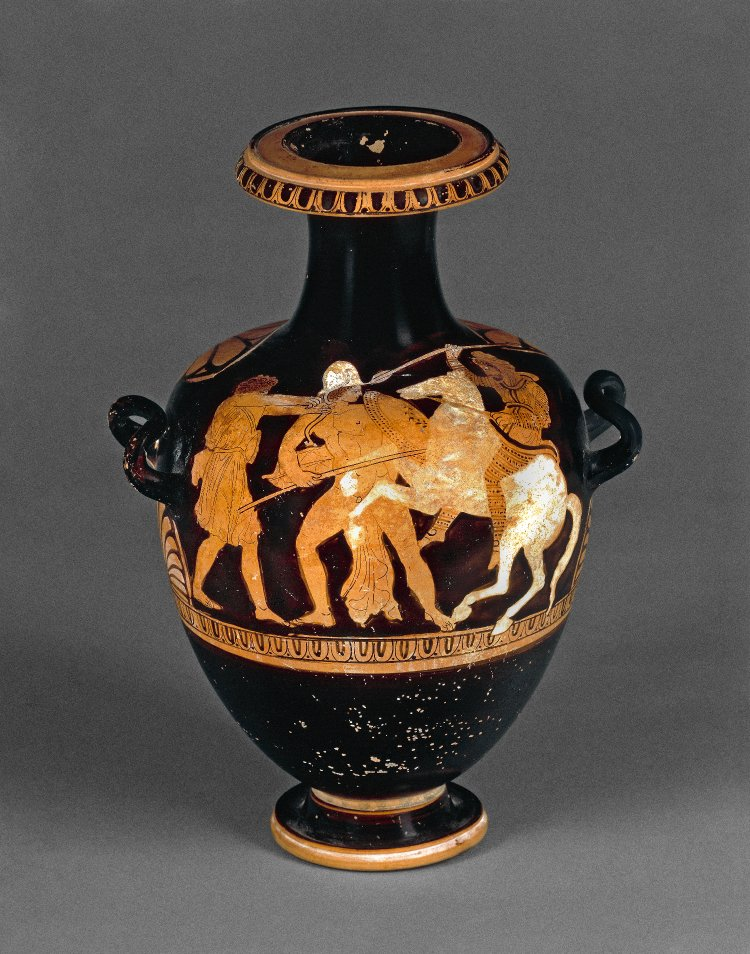 Hydria with Greeks fighting a mounted Persian, 365-350 BC, Attic