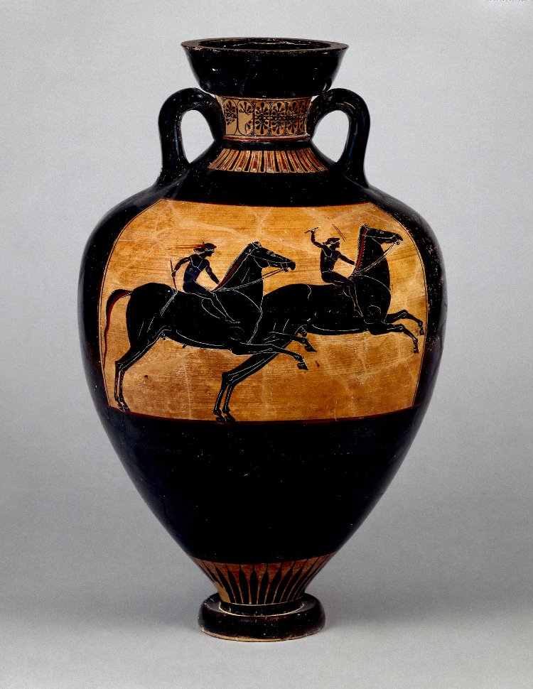 Panathenaic amphora, cr. 500 BC-490 BC, Attica, attributed to the Eucharides Painter