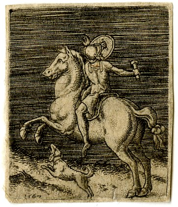 A horsemen in antique dress holding a shield in his left hand, with a dog, 1567, Abraham de Bruyn, Flanders
