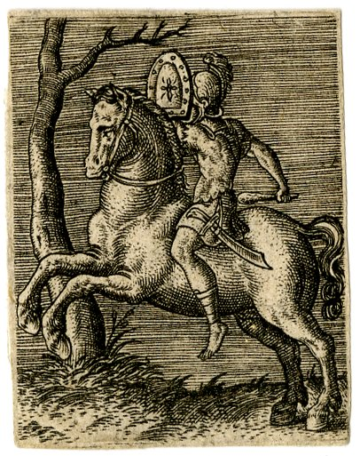 A horsemen in antique dress holding a shield in his left hand, with a club in his right hand, 1568, Abraham de Bruyn, Flanders