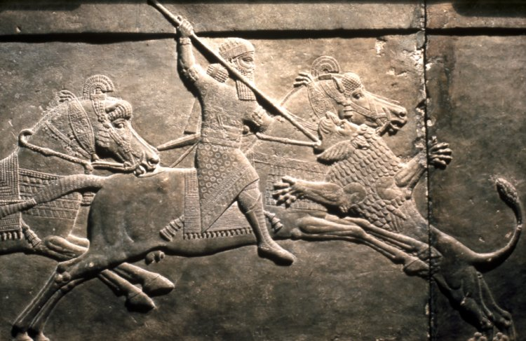 King Ashurbanipal killing a lion, 645-35 BC, Neo-Assyrian (Iraq)