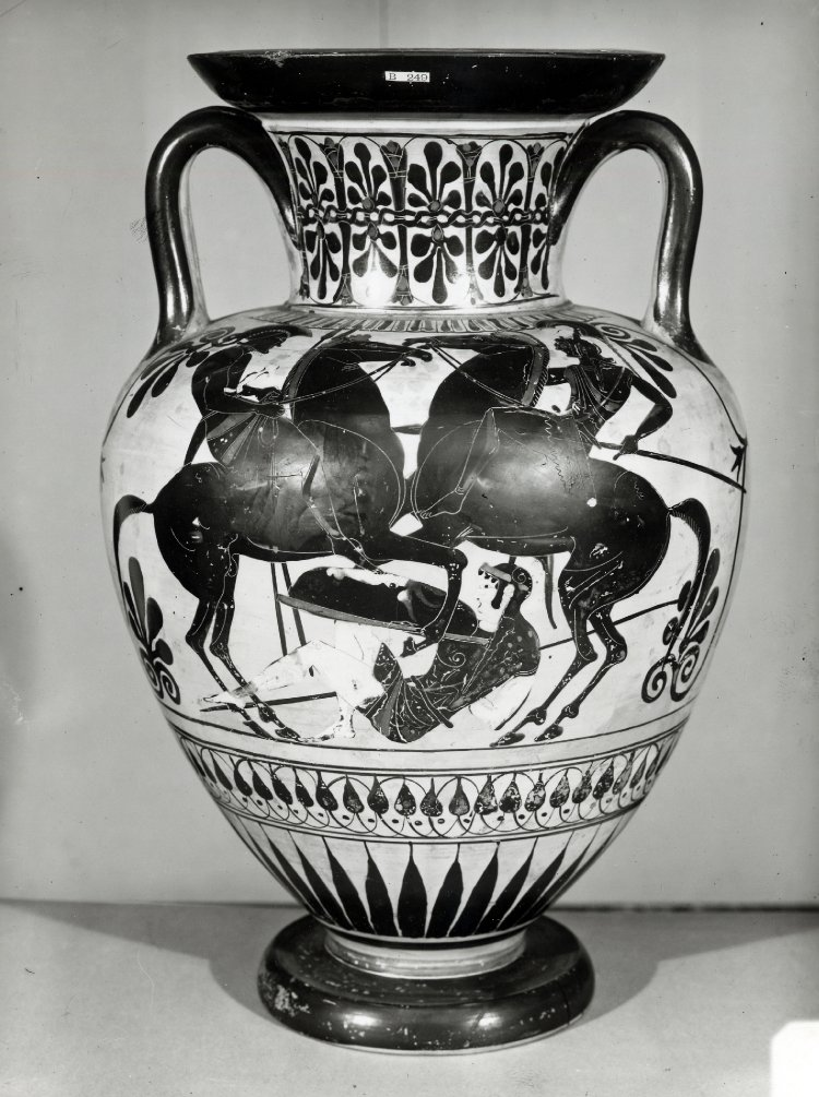 Neck-amphora with the depiction of mounted warriors trampling an Amazon,cr. 510 BC-500 BC, Attica