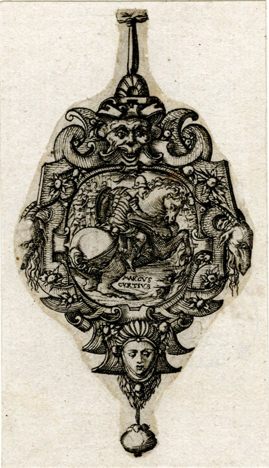 Design for a pendant with the depiction of Marcus Curtius, 1555-1562, Pierre Woeiriot, France