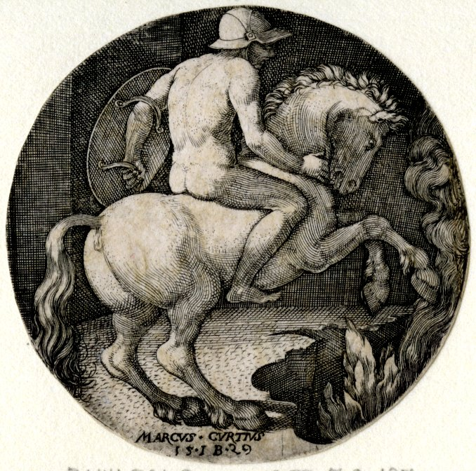 Roundel with naked Marcus Curtius, 1529, Germany