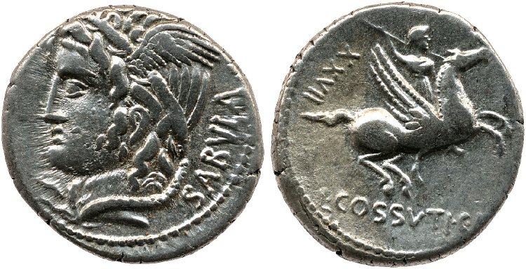 Silver denarius, reverse shows Bellerophon on Pegasus brandishing spear, 74 BC, Rome, Roman Republic
