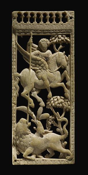 Ivory panel depicting Bellerophon slaying the Chimaera, 5th century, Late Roman