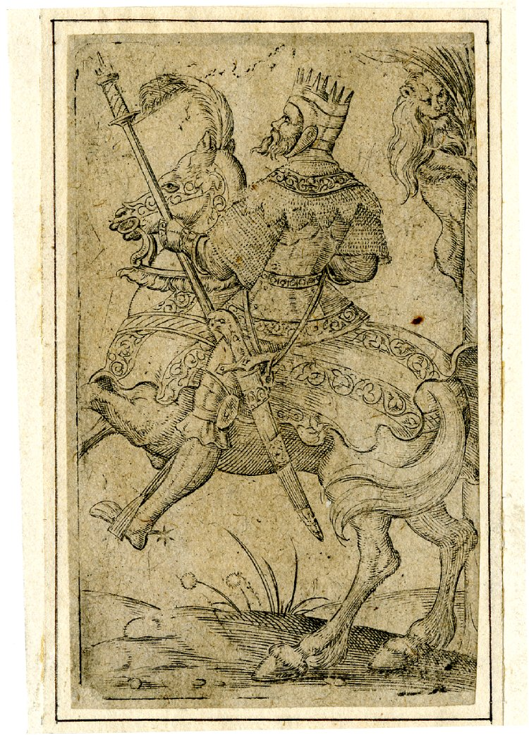 Playing card, the king of lions, cr. 1550, Virgil Solis, Nuremberg, Germany