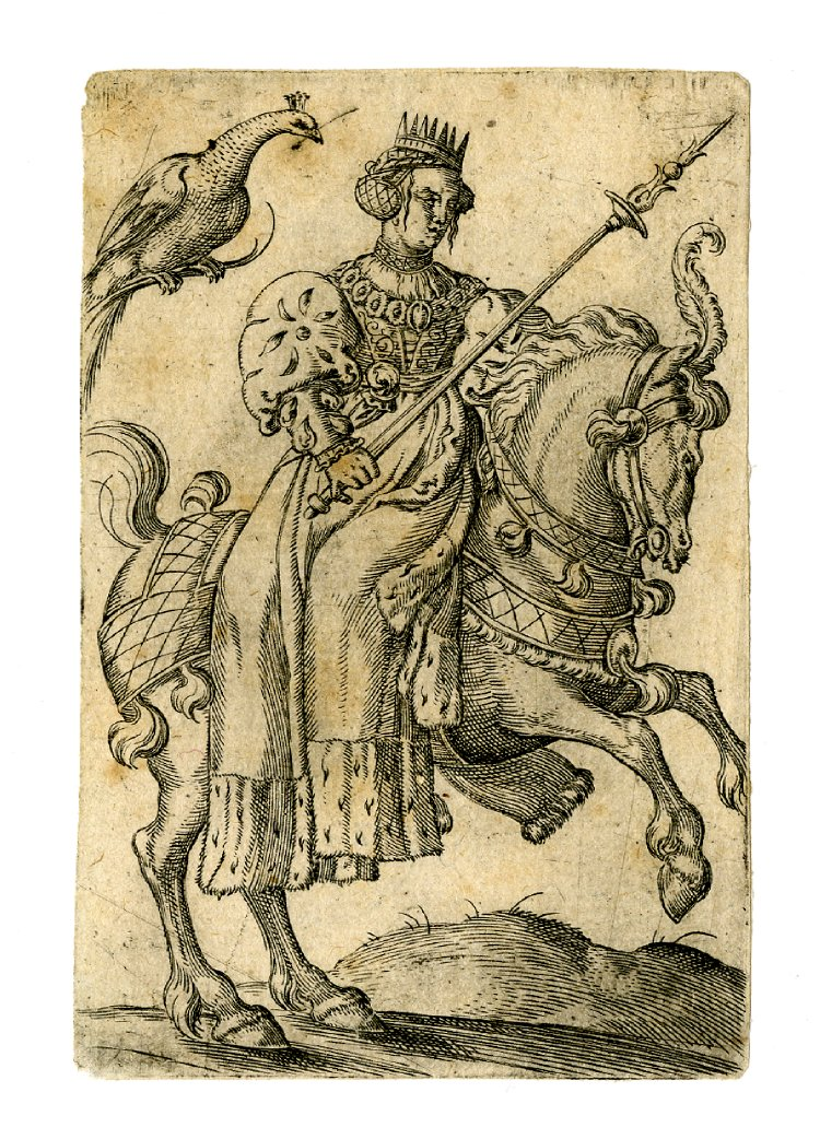 Playing card, the queen of peacocks, cr. 1550, Virgil Solis, Nuremberg, Germany