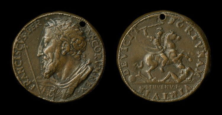 A medal with François I and a horseman trampling a naked woman and holding a club, 1537, Italy