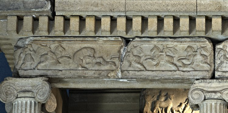 Detail of the architrave frieze of the Nereid Monument showing a dynast at the bear hunt, cr. 390-380 BC, classical Greek, Xanthos in Lycia, close to present-day Fethiye in Mugla Province, Turkey