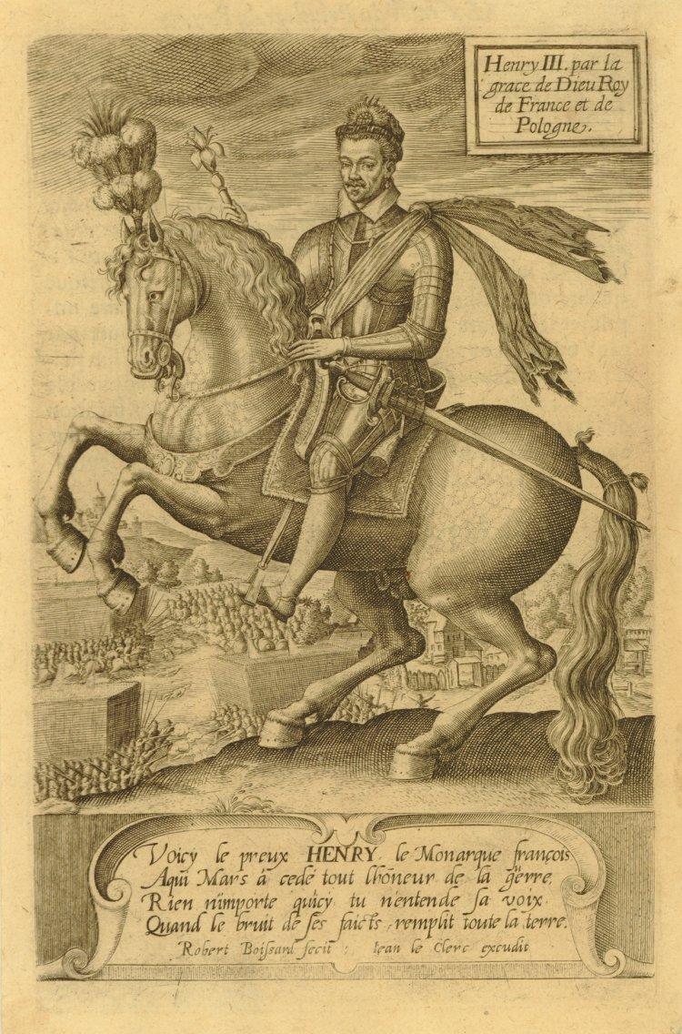 Equestrian portrait of Henri III,1585-1589, Robert Boissard