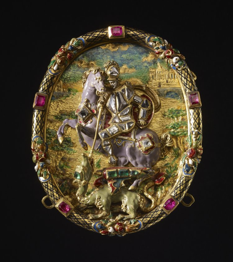 Hat-ornament with Saint George and Dragon, 1550-1575, Germany and France